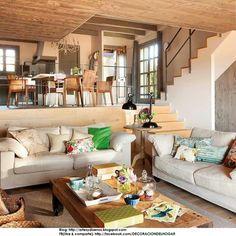 Assim assim! Cozinha em cima, sala logo abaixo. Mas no lugar desse sofa seria um jardinzinho.