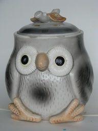 Vintage Grey Owl Cookie Jar