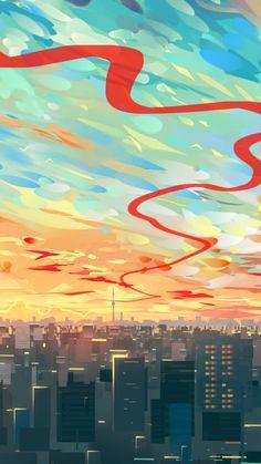 Clouds, cityscape, buildings, art, 720x1280 wallpaper