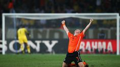PORT ELIZABETH, SOUTH AFRICA - JULY 02: Dirk Kuyt of the Netherlands celebrates after the final whistle in the 2010 FIFA World Cup South Africa Quarter Final match between Netherlands and Brazil at Nelson Mandela Bay Stadium on July 2, 2010 in Nelson Mandela Bay/Port Elizabeth, South Africa. (Photo by Ryan Pierse - FIFA/FIFA via Getty Images)