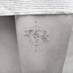 Delicate travel tattoo by Sanghyuk Ko