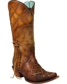 Corral Women's Lizard Laser Overlay Cowgirl Boots - Snip Toe, Honey #cowgirlboots
