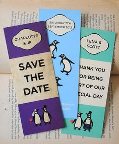 Classic Penguin books-themed wedding Save The Date bookmarks Wedding 2017, Dream Wedding, Purple Books, Chelsea Wedding, Invite, Invitations, Penguin Party, Library Wedding, Tea Party Wedding