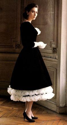 1957, Black velvet dress with white ruffles Christian Dior