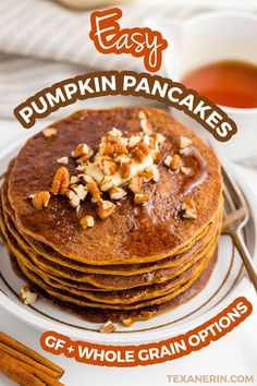 These easy pumpkin pancakes have an amazing texture! Unlike other healthy pumpkin pancakes, these aren't at all bready and taste amazing. With whole wheat and gluten-free options. Gluten Free Recipes For Breakfast, Best Gluten Free Recipes, Real Food Recipes, Cake Recipes, Cooking Recipes, Pumpkin Pancakes Easy, Pumpkin Protein Pancakes, Pancake Muffins, Keto Pancakes