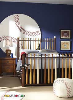 The sporty Batter Up bedroom collection will take him out to the ball game every day.