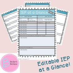 iep at a glance template - iep at a glance iep cover sheet special education