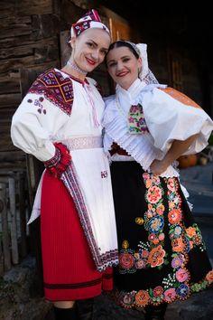 Left: Polomka village, Horehronie region, Central Slovakia. Right: Detva town, Podpoľanie region, Central Slovakia. Folk Costume, Costumes, Sheer Beauty, Folk Embroidery, People Of The World, Historical Costume, Traditional Dresses, Folklore, Kids Wear