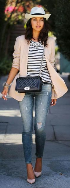 Stripes Blouse with Skinnies Ripped Jeand and Chanel Black Calfskin Small Flap Cross Body Bag | Street Outfits