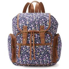 Mudd Avery Ditsy Floral Backpack (Blue) ($36) ❤ liked on Polyvore featuring bags, backpacks, blue, blue backpack, floral rucksack, rucksack bag, top handle bag y blue floral backpack