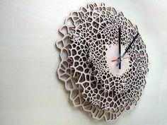 Giraffe clock - LARGE - laser cut wood - modern wall clock - voronoi pattern - wooden wall clock. €150.00, via Etsy.