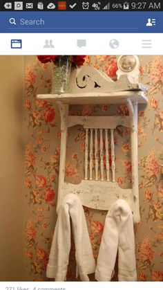 Repurposed chair shelf / towel holder