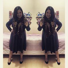 Look do dia! 😉 {créditos na tela} #black #animalprint #leather #fashion #ootd #look #moda #renner #forever21 #arezzo #hering #pic #photo #mirror #selfie #blogger #blog #lifeasdaphne