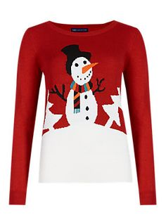 Red Mix Christmas Carrot Snowman Jumper