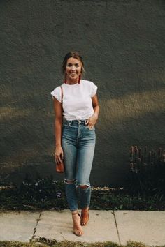 Simply casual with white tee and distressed denim jeans.