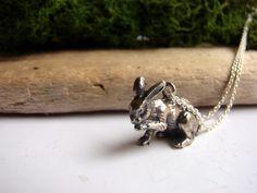 Silver Bunny Necklace Bunny Jewelry Hare Jewelry Rabbit by Nafsika