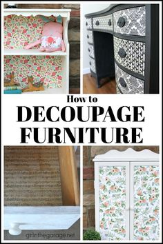 How to decoupage napkins onto wood in this easy DIY tutorial with free printable instructions. Confidently create your own decoupage napkin projects! Refurbished Furniture, Repurposed Furniture, Shabby Chic Furniture, Rustic Furniture, Furniture Makeover, Cool Furniture, Modern Furniture, Antique Furniture, Outdoor Furniture