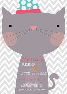 109 best cat birthday party images on pinterest in 2018 cat diy printable kitty cat invitation cat invitation kitty cat party 5x7 jpg filmwisefo