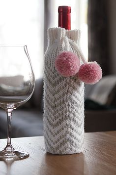 The Chevron Wine Bottle Cozy is an easy knit, perfect for holiday gift giving. Download the pattern at KnitPicks.com.