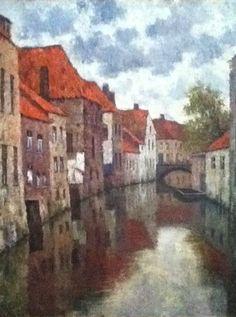 Zicht op Brugge - olieverf op doek - Alfons De Clercq (1868-1945)