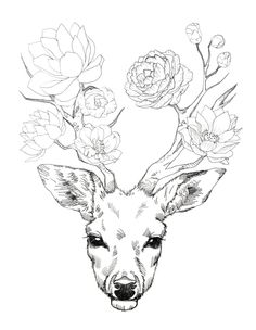 Flower Deer Art Print by Minyo Planet | Society6