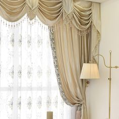 Twynam Beige and Yellow Waterfall and Swag Valance and Sheers Custom Made Chenille Velvet Curtains Pair. one pair velvet curtains and one pair sheers and one panel velvet valance. Cotton Curtains, Velvet Curtains, Drapes Curtains, Types Of Curtains, Short Curtains, Types Of Window Treatments, Waterfall Valance, Beautiful Curtains, Custom Drapes