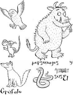 """""""The Gruffalo"""": una storia, tante attività. Gruffalo Activities, Gruffalo Party, Book Activities, Preschool Activities, Colouring Pages, Coloring Pages For Kids, Drawing For Kids, Art For Kids, Gruffalo Characters"""