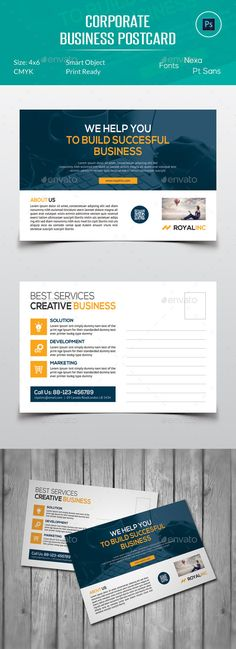 Corporate Business Postcard Template #design Buy and Download: http://graphicriver.net/item/corporate-business-postcard/12834572?ref=ksioks                                                                                                                                                                                 More