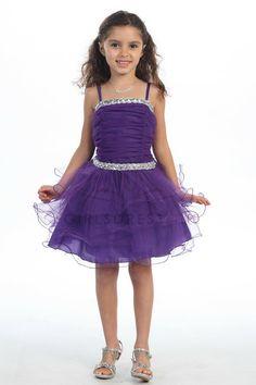 I Love It! Purple Fancy Multi Tiered Tulle Skirt Short Flower girl Dress on www.GirlsDressLine.Com