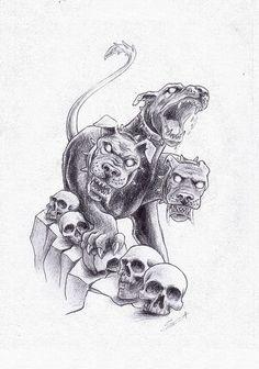 Cerberus Greek Mythology line art - Bing images<br> God Tattoos, Future Tattoos, Body Art Tattoos, Sleeve Tattoos, Greek Mythology Tattoos, Greek Mythology Art, Roman Mythology, Hades Tattoo, Medusa Tattoo