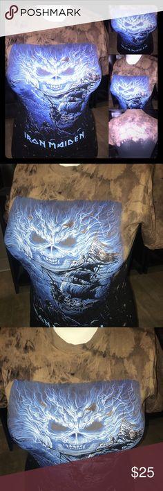 Iron Maiden custom rock band T-shirt Custom bleached acid washed iron maid rock band  shirt. Hand made one of a kind. Tag: clothes, shoes, makeup,  Cosmetics, Top, blouse, t-Shirt, accessories, tank top, dress,  eyeliner, lip gloss, panties, pink, heels, denim, Kylie Jenner, Kim Kardashian. Tops Tees - Short Sleeve