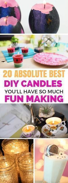 Easy DIY Candles To Make - A list of fantastic homemade candles that looks gorgeous and are so simple to follow along. Step by step tutorials on how to make different kinds of candles. Literally the BEST candles out there! #candlemakingdiy