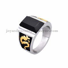 anillo de piedra negra con dragon en acero plateado inoxidable -SSRGG371851