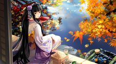 Geisha having breakfast on the water side Wallpaper