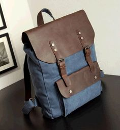Leather and canvas Backpack / leather messenger bag by QandJstudio, $58.00