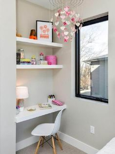 26 Trendy home office pequeno canto Home Office Space, Home Office Design, Home Office Decor, Home Decor, Home Bedroom, Bedroom Decor, Trendy Home, Girl Room, Interior Design