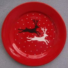 christmas dishes black and red