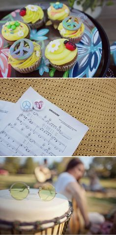 peace ladybug hippie wedding cupcakes, plus sheet music to get everyone to sing along