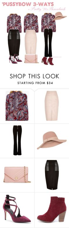 """Pussybow Blouse='70s Throwback"" by twolookbooks on Polyvore featuring Parisian, River Island, Accessorize, Tory Burch, Sole Society and Breckelle's"