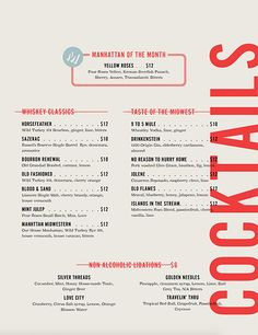 A division of UnderConsideration, cataloguing the underrated creativity of menus from around the world. Cafe Menu Design, Bar Restaurant Design, Restaurant Identity, Food Menu Design, Menu Restaurant, Menu Card Design, Design Café, Layout Design, Typography Design