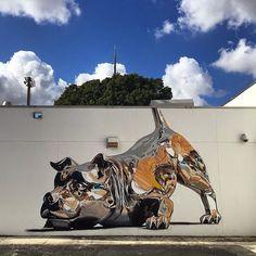 A Stunning Mural That Looks Like A 3-Dimensional Metallic Sculpture Of A Dog - DesignTAXI.com