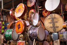 Moroccan drums souvenirs - Traditional handmade drums somewhere in Marrakesh, Morocco Barbary Coast, Sound Of Music, Percussion, Ibiza, Musical Instruments, Morocco, Drums, Traditional, Marrakesh