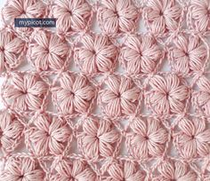 Crochet Puff Flower Learn A New Crochet Stitch: Delicate Flower Puff Stitch Pattern - This Crochet Flower Puff Stitch Pattern is marvelous, feminine, and elegant and looks great in one or more colors. Picot Crochet, Crochet Puff Flower, Crochet Flower Patterns, Crochet Stitches Patterns, Crochet Motif, Knitting Stitches, Crochet Flowers, Free Crochet, Stitch Patterns