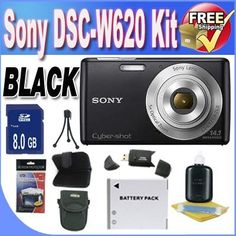 Sony Cyber-shot DSC-W620 14.1 MP Digital Camera with 5x Optical Zoom and 2.7-Inch LCD (Black) + 8GB SDHC Class 10 Memory Card + Extended Life Battery + USB Card Reader + Memory Card Wallet + Deluxe Case w/Strap + Shock Proof Deluxe Case + Accessory Saver Bundle! by BVI. $138.79. This Kit Includes! 1- Sony Cyber-shot DSC-W620 14.1 MP Digital Camera with 5x Optical Zoom and 2.7-Inch LCD (Black) w/ All Supplied Accessories  1- Extended Life Battery (Great For Vacation!...