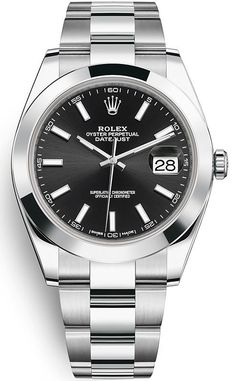Look at classic Rolex Datejust 41 mm Steel Case Black Dial Smooth Bezel Oyster Bracelet Watch - with international delivery Rolex Watches For Men, Seiko Watches, Luxury Watches For Men, Cool Watches, Datejust Rolex, Rolex Presidential, Brand Name Watches, Swiss Army Watches, Rolex Day Date