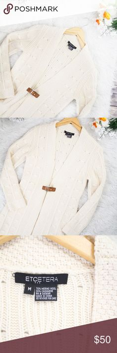 "Etcetera Cream Wool/Cashmere Sweater Cardigan Beautiful, cozy, chunky knit sweater with belt buckle. Great condition. No holes or stains.  Size: M Material: 70% wool, 30% cashmere Measurements: Bust ""40 "", Length ""32 ""  **Feel free to message me asking any questions.  * All items are measured laying flat then doubled  * Comes from a smoke-free home Etcetera Sweaters Cardigans"
