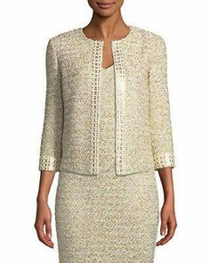 John Collection Gilded Eyelash Knit Jacket with Hand-Beaded Trim, St. John Collection Gilded Eyelash Knit Jacket with Hand-Beaded Trim. Shrug For Dresses, Beaded Trim, Groom Dress, Groom Outfit, Knit Jacket, Tweed Jacket, Ladies Dress Design, Mother Of The Bride, Ideias Fashion