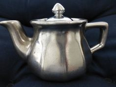 Silver Teapot with Fitted Lid  Glazed Ceramic by ChicAvantGarde, $14.00