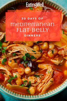 30 Days of Mediterranean Flat-Belly Dinners - Diet Recipes Medditeranean Diet, Med Diet, Diet And Nutrition, Healthy Diet Plans, Diet Meal Plans, Healthy Eating, Healthy Recipes, Healthy Fats, Clean Eating