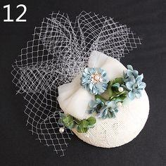 European Style Bridal Hats With Flowers Net Wedding Hats Women Headwear Wedding Party Church Headpiece Brides Hair Accessories